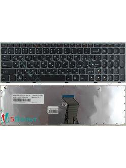 Клавиатура для ноутбука Lenovo Z560, Z565 черная с серой рамкой
