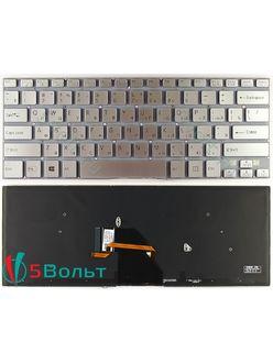 Клавиатура для ноутбука Sony Vaio Fit SVF14A серии серебристая с подсветкой